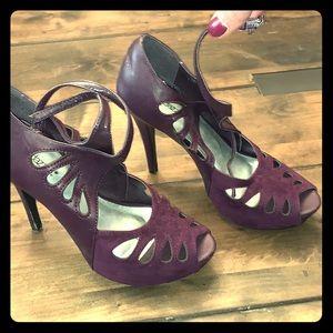 Shoe Dazzle Purple Lilianna Pump Peeptoe Heel